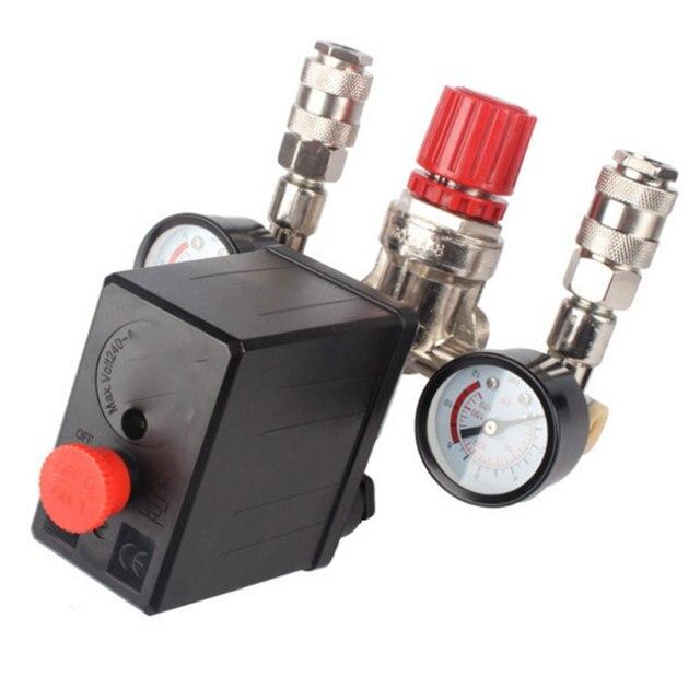 Compresor de aire de alta resistencia para Nuevo regulador, interruptor de Control de presión de bomba de aire de 4 puertos, válvula de Control de 7,25 125 PSI con manómetro