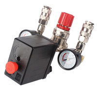 New Regulator Heavy Duty Air Compressor Pump Pressure Control Switch 4 Port Air Pump Control Valve 7.25 125 PSI with Gauge