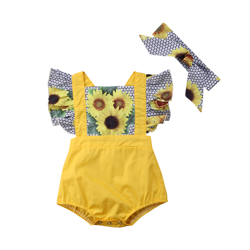 Sunflower   Romper   Cute Newborn Baby Girl Ruffles Sleeve Back Cross Patchwork Princess Jumpsuit Headband 2PCS Outfit Sunsuit