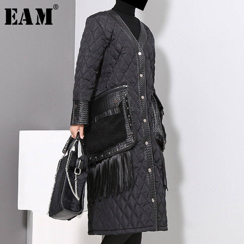 WKOUD EAM 2018 New Autumn Winter Women V-collar Long Sleeve Blcak Loose Pu Leather Pocket Cotton-padded Coat Fashion   Parkas   JK28