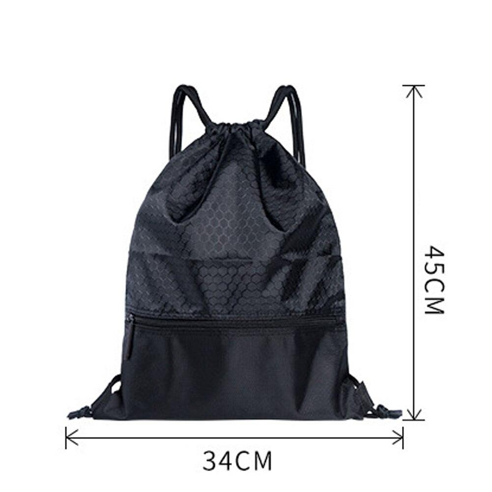 Women Men Sports Backpack Large Capacity Travel Practical Riding Nylon Solid Fashion Wear Resistant Anti-splash Drawstring Lock