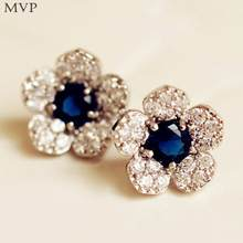 Hot Sale Trendy Popular Clear Crystal Rhinestone Flower Shaped Stud Earrings Wholesale Factory Price Dropship Fashion Jewelry(China)