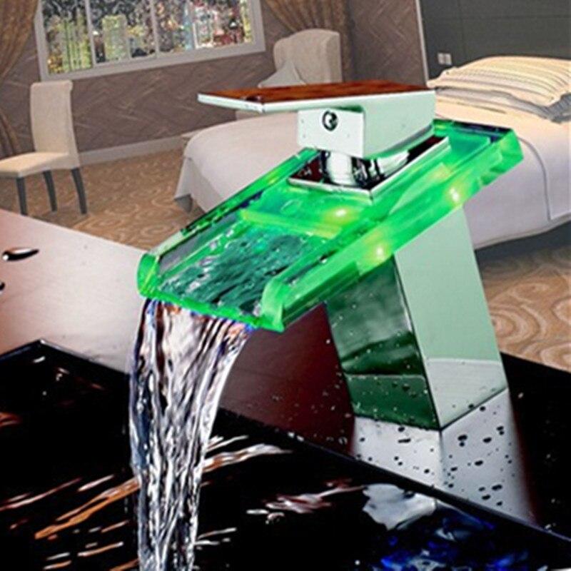 LED en verre massif cascade robinet évier chaud froid mélangeur robinet contrôle de température lumière robinet mitigeur lavabo robinets pour salle de bain