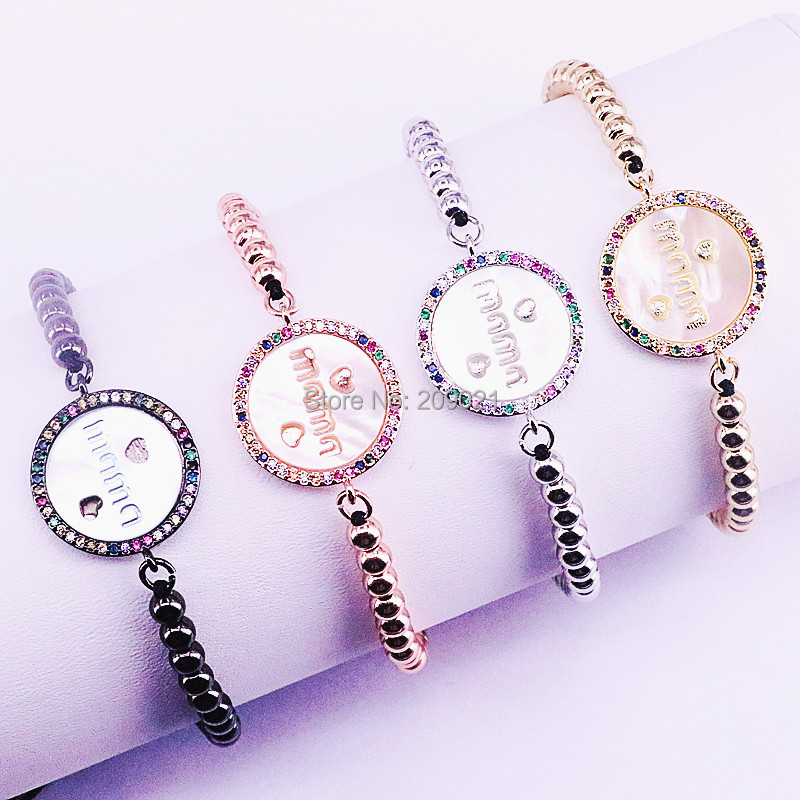 8Pcs Micro Pave CZ Round Shell Charm bracelet 4mm Copper Braiding Macrame Women Bracelet Jewelry Mom