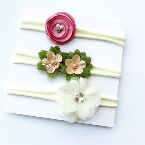 2019 Newborn Infant Girls Kids Baby Headband 3Pcs Hair Bows Flower Toddler Girl Nylon Stretch Hairband Flower Princess Cute New
