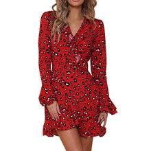 купить Women Sexy Spring Dress V-neck Leopard Printed Ruffled Hem Flare Sleeve Party Wrap Mini Dress Vestidos по цене 1229.03 рублей