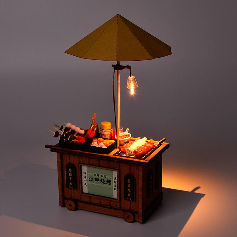 Chinese Classical BBQ Cart Barbecue Trolley Lighting House Wooden Model Kits DIY Chinese Bakery Shop Model Christmas Gift