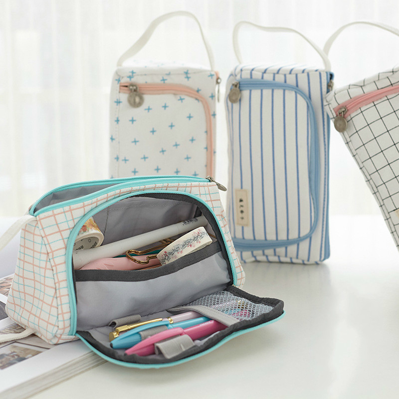 Big Volume Pencil Cases Canvas Pen Case Cute Stationery Storage Bag Kawaii Washing Cosmetic Bag School Bag Astuccio Penne 05088