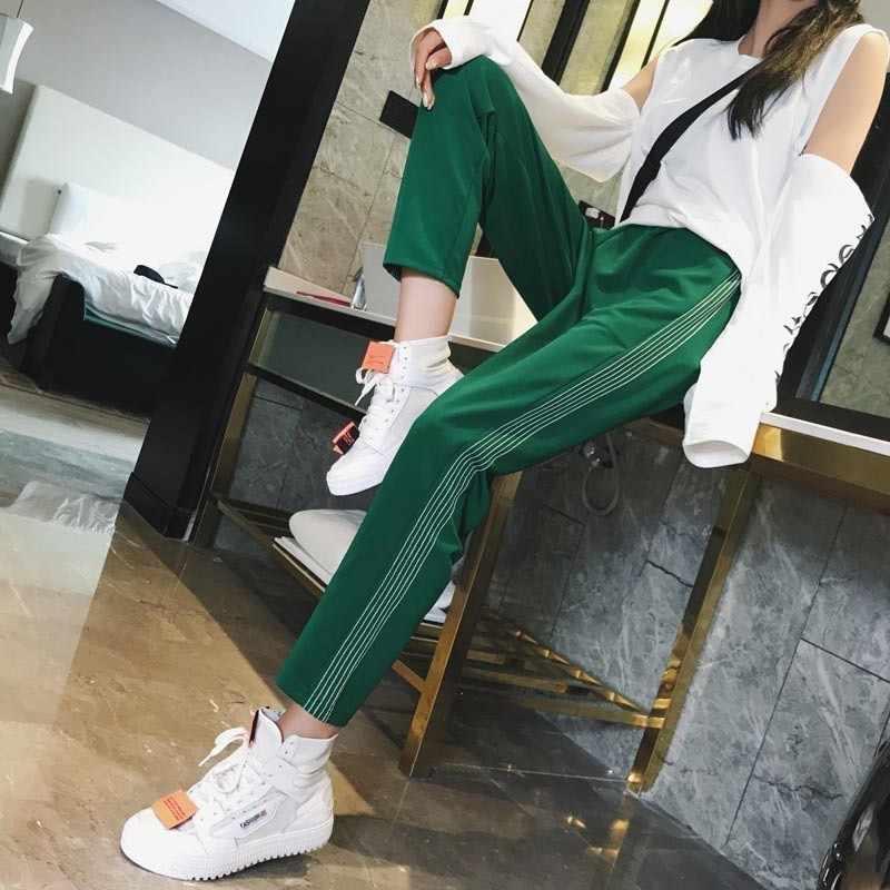 bd84bade5c1bc Mooirue Streetwear High Waist Pants Women Fashion Striped Elastic Green Red  Blue Black Straight Long Plus