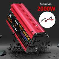 2000W Car Inverter 12 220 Auto Power Inverter Charger Converter Adapter USB Plug Port Modified Sine Wave DC 12V 24V To AC 220V