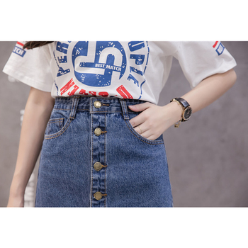 Flectit 2019 Button Front Midi Denim Skirt for Women Casual High Waist Fray Hem with Pocket Knee Length Jeans Skirt Female * 4