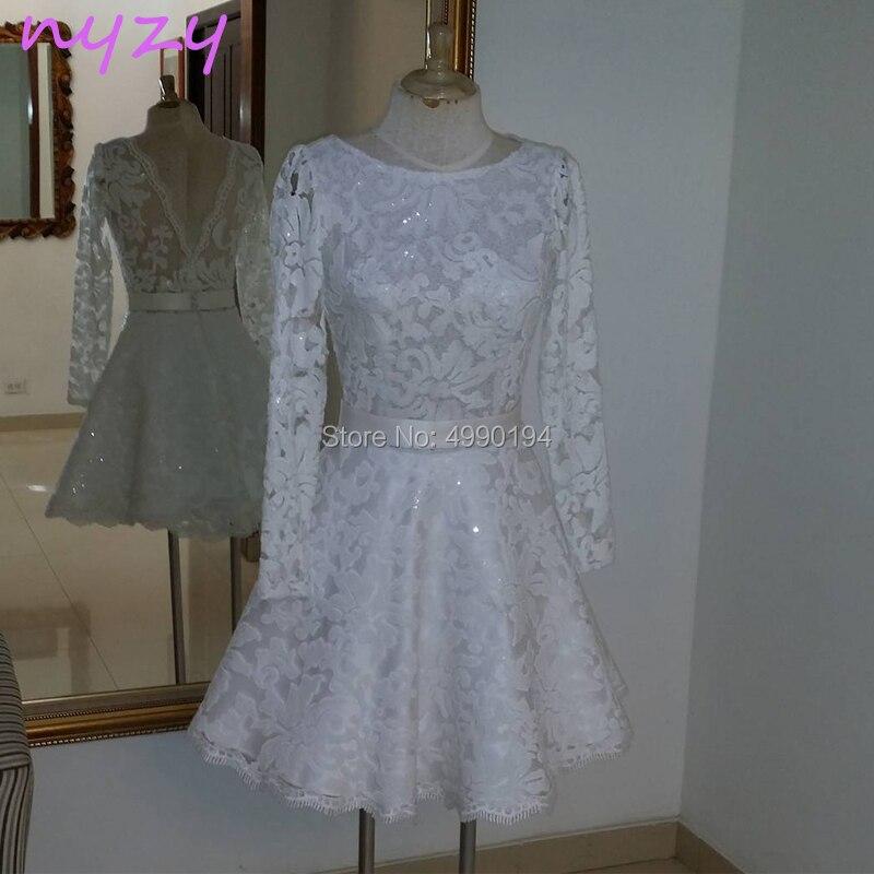 NYZY C56 Robe De Cocktail Courte Long Sleeves Low Back Lace White Party Dress Evening Vestidos De Festa Curto 2019