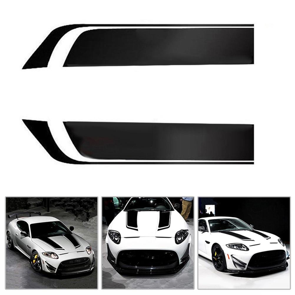 Unviersal 2pcs Racing Sports Vinyl Car Hood Decals Bonnet Sticker fr Benz BMW
