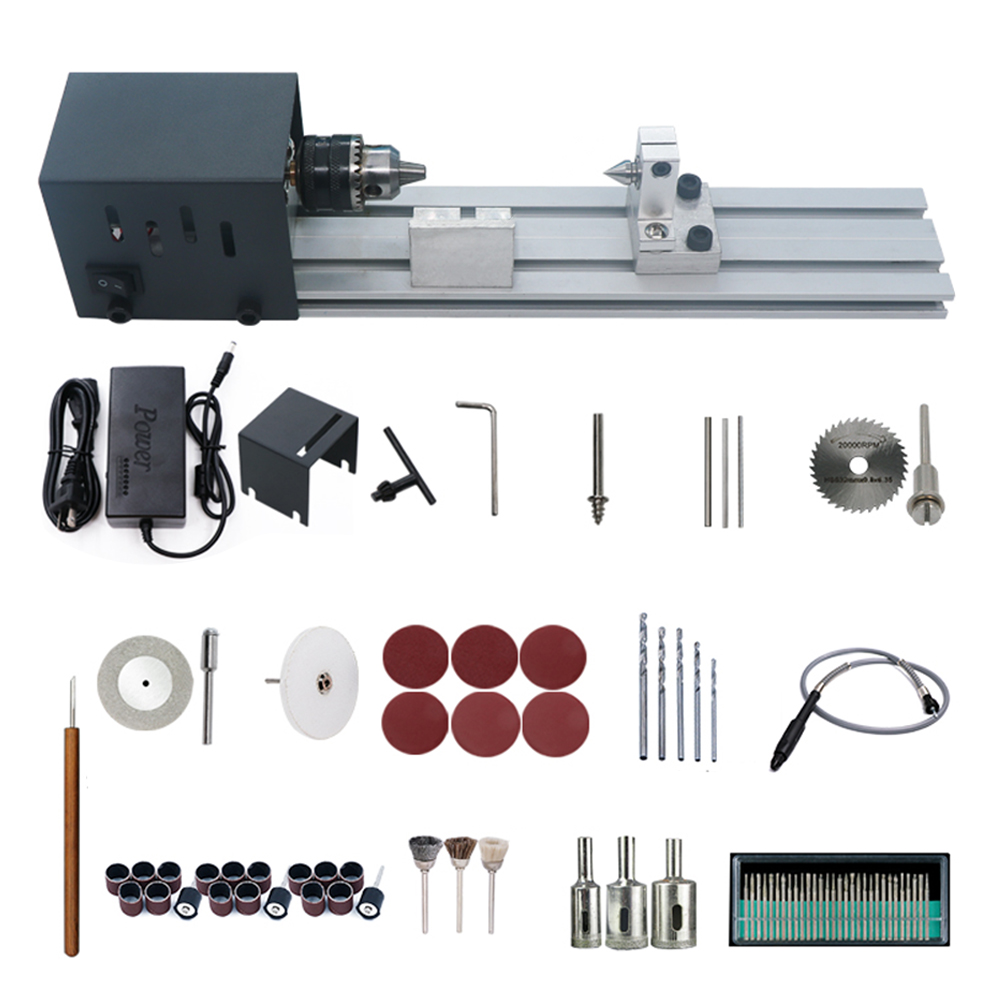Mini Lathe Beads Polisher Machine Woodworking Craft DIY Rotary Tool Universal Set US Plug