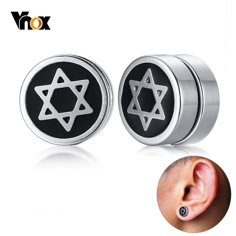 Vnox David Six Star Magnetic Earring Clip Stainless Steel
