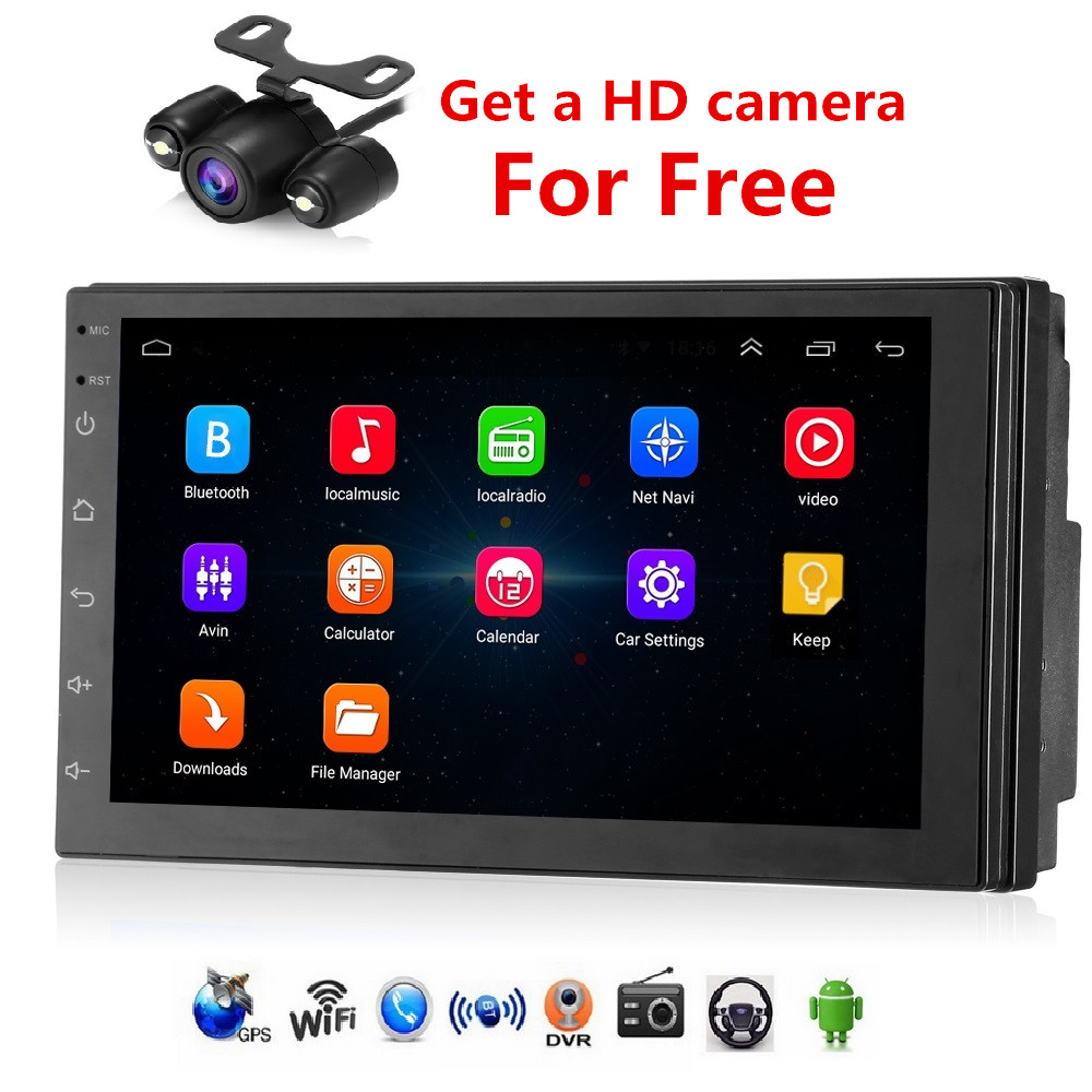 8802 Android 7.1 Universal 2 din Car Multimedia Player 7inch Touch Screen Car DVD Bluetooth GPS DVR Wifi Rearview Camera 1G +16G