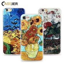 CASEIER Case For iPhone 5 5s SE Sunset Print Relief Capa Cover Oils Van Goghs Cottages Cool Coque Shell