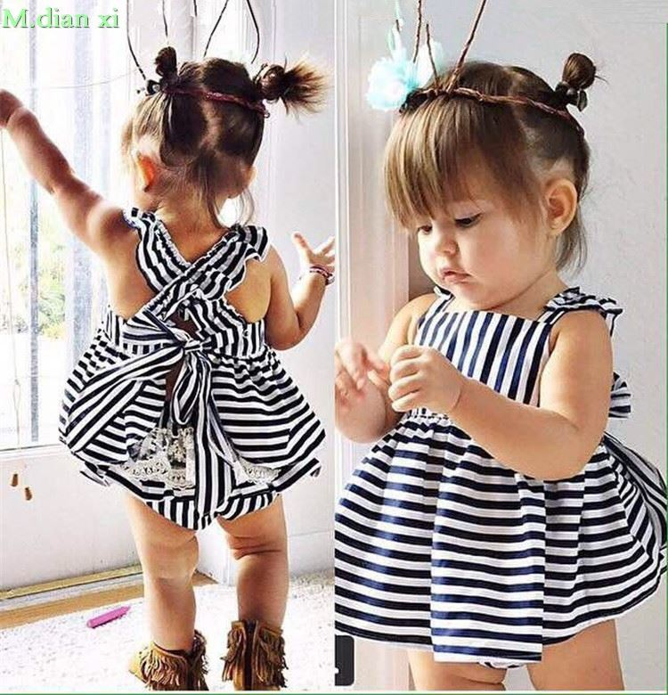Dress Top Outfit Newborn Toddler Baby-Girls Infant Striped Summer 0-24M Briefs Kids 2pcs