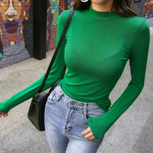 Green Tight Sexy Tops Turtleneck Render Womens Tee Shirts Autumn Womens T shirts Casual Ladies Black Long Sleeve T shirt(China)