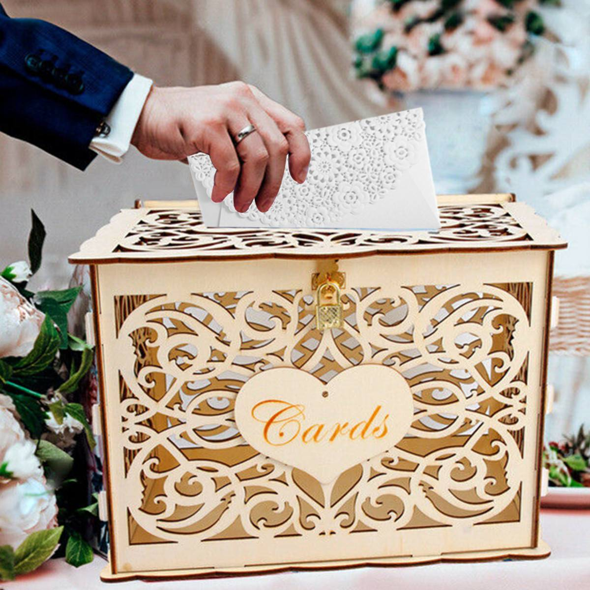 DIY Wedding Gift Card Box Wooden Money Box With Lock Beautiful Wedding Decoration Supplies For Birthday Party 30x21.5x24cmDIY Wedding Gift Card Box Wooden Money Box With Lock Beautiful Wedding Decoration Supplies For Birthday Party 30x21.5x24cm