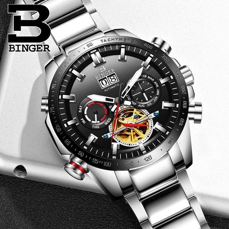 Switzerland BINGER Watch Men Automatic Mechanical Luxury Brand Men Watches Sapphire skeleton Men Watch relogio masculino B3-1-2