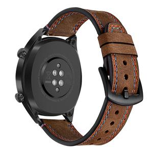Image 5 - 22MM Smart Replacement Sports Watch With Leather Watch Strap Crazy Horse Double Line Wristband For Huawei Watch Honor Magic