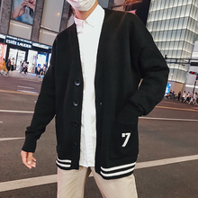 Winter New Fashion Men's Knitted Sweater M-3XL Solid Color Sweater Single-breasted Loose V-neck Personality Youth Cardigan