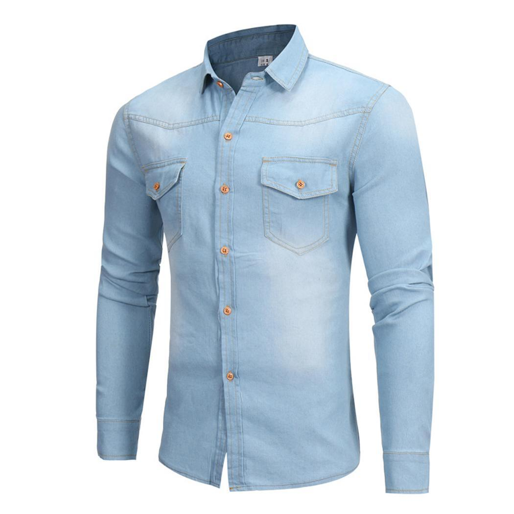 Men Fashion Casual Long Sleeve Turndown Printed Button Slim Shirt Top Collar Spring, Summer 10