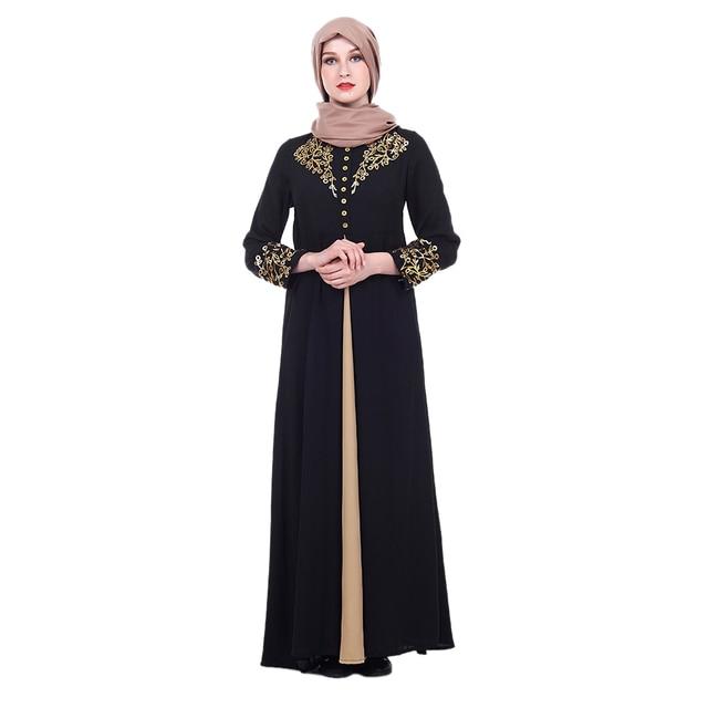 Vestido musulmán elegante mujer Abaya Dubai caftán musulmán flores estampado caliente Vestido de manga larga vestido suelto femenino Islámico