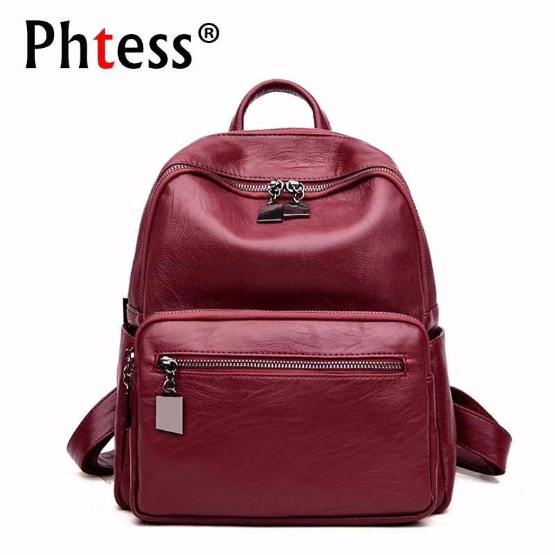 2019 Women Leather Backpacks High Quality Sac A Dos Rucksacks For Girls School Bags Preppy Style Solid Casual Daypack Female New2019 Women Leather Backpacks High Quality Sac A Dos Rucksacks For Girls School Bags Preppy Style Solid Casual Daypack Female New