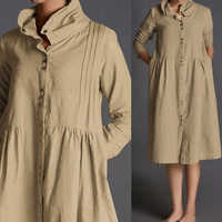 Mujeres manga larga botones abajo Vintage vestido 2019 Celmia Casual suelto Mujer algodón Lino camisa Vestidos talla grande Vestidos Mujer