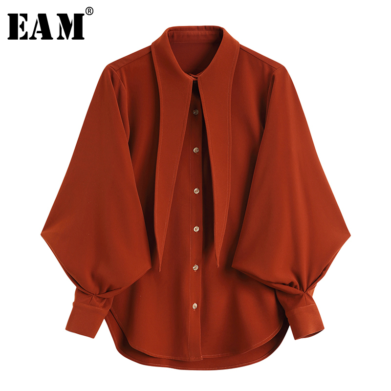 [Eam] 2019 New Spring Summer Lapel Long Lantern Sleeve Red Loose Personality Chiffon Shirt Women Blouse Fashion Tide Jq196 by Eam