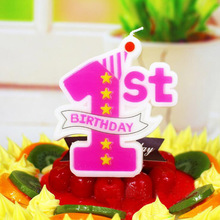Cake Decor Children Kids Cake Topper 1 Cute Number Birthday Party Baby Shower 1St First Birthday Digital Candle Gift Home Decor