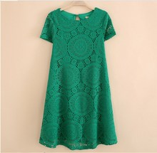 Summer Fashion Women Dress Hollow Out Lace Dresses Floral Solid Sexy Mini Streetwear