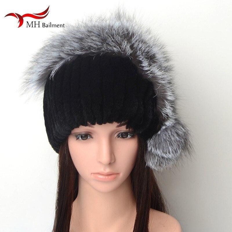 Women's winter fox rabbit fur hat novel pursuit of fashion warm earmuffs out must have gradient hip hop bucket cap harajuku pop