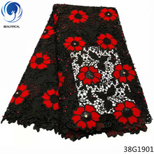 Beautifical nigerian cord lace flower guipure fabric red african latest water soluble laces 38G19