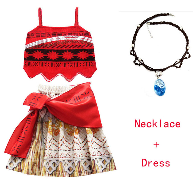 3344c3a47e Moana Girl Summer Dress with Necklace Kids Adventure Outfit Children  Princess Beach Party Cosplay Costume Vaiana