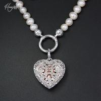 Thomas White Zircon paved Freshwater Pearl Necklace with Open able Locket Heart Pendant, European Fine Jewelry for Women TS N309