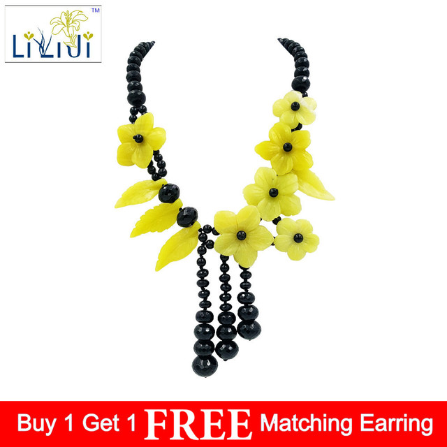 LiiJi Unique Natural Stone Black Agates Onyx,Yellow Color Korea Jades Flowers Tassels Handmade Necklace
