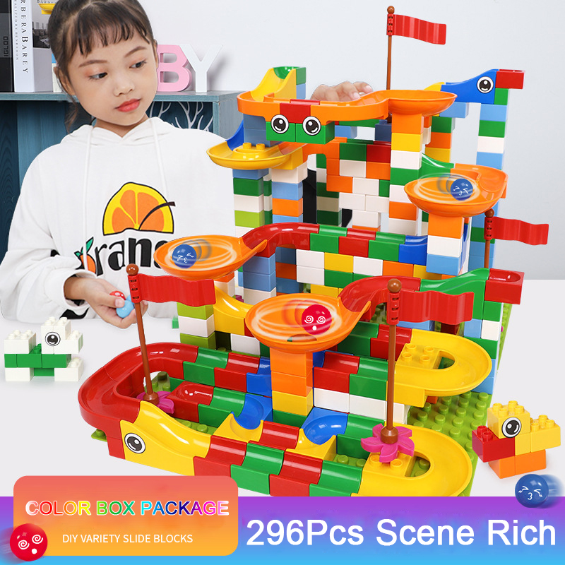 Color box package 148 296 PCS Marble Race Run Maze Ball Track Building Blocks Bricks Toys Compatible Duploe Blocks
