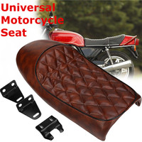 Vintage Seat Cushion 53cm Hump Saddle Cafe Racer For Honda for CBR for Suzuki Brown Waterproof Vintage Style Comfortable Seat