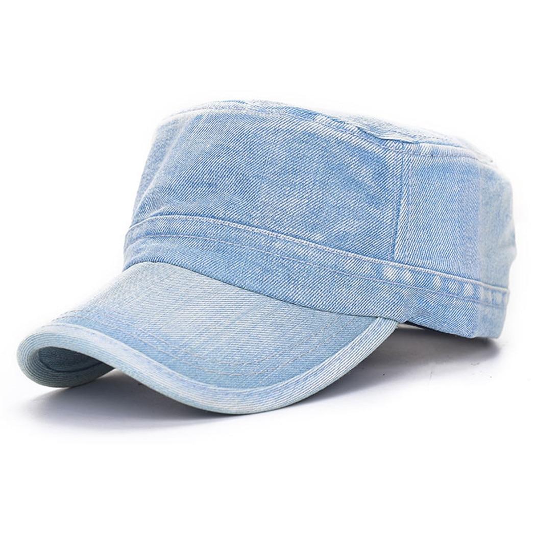 Casual Solide Snapback Flachen Hut Blau Plain Jean Cap Männer Frauen Outdoor Military Denim Caps Einstellbare Baseball Sonne Hüte Unisex Extrem Effizient In Der WäRmeerhaltung Militärhüte