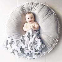 Pure Cotton Woolen Ball Fabric Thickened Children Carpet Baby Round Play Mat For Children