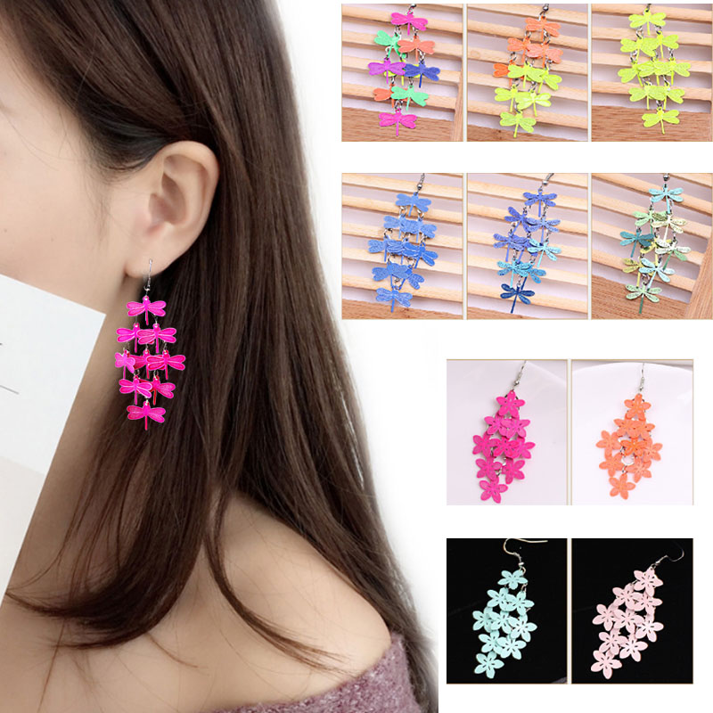 Fashion Violet Blue color Bohemian Jewelry Drop Flower Simple Free Shipping New Arrival Allergy Free 1Pair Earring Gifts in Drop Earrings from Jewelry Accessories
