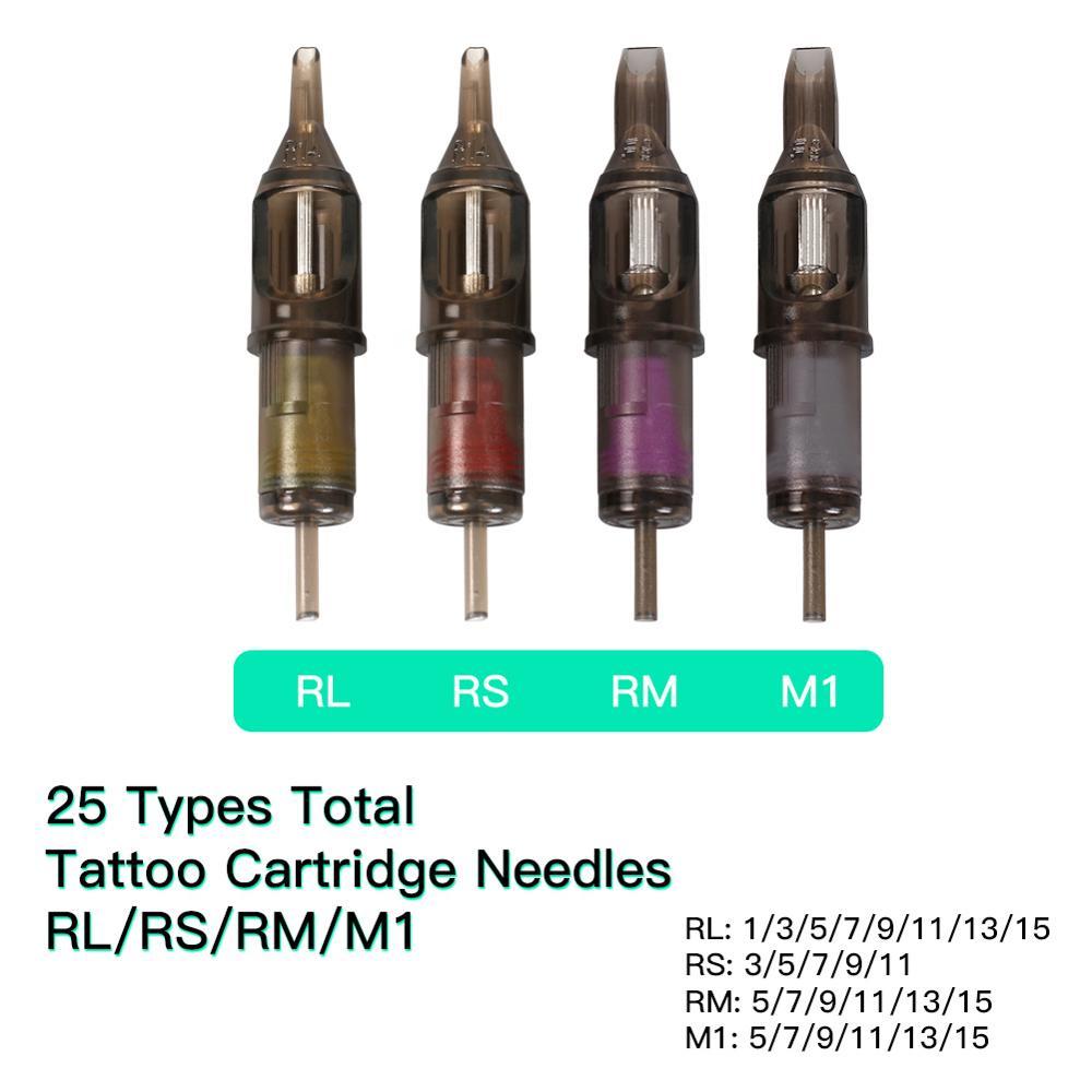 100 pcs Mix Size Disposable Tattoo Cartridge Needles RL RS RM M1 For Tattoo Pen Cartridge