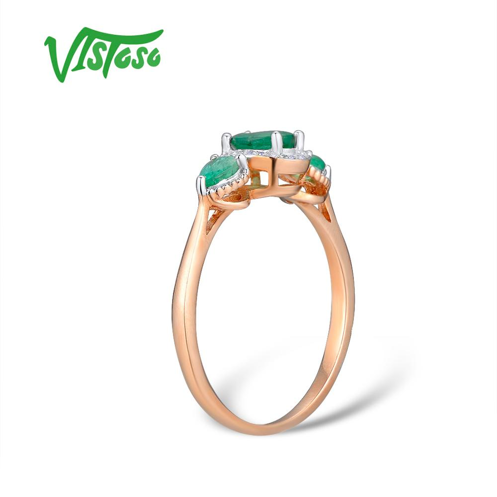 Image 3 - VISTOSO Gold Rings For Women Genuine 14K 585 Rose Gold Ring Magic Emerald Sparkling Diamond Engagement Anniversary Fine Jewelry-in Rings from Jewelry & Accessories