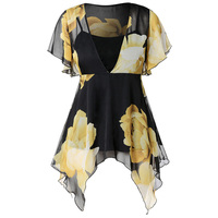 Plus Size Floral Print Chiffon Blouse 2019 Summer Women Tops Long Tunic Ruffle Shirt Beach Kimono Retro Blouse Sexy Top Female