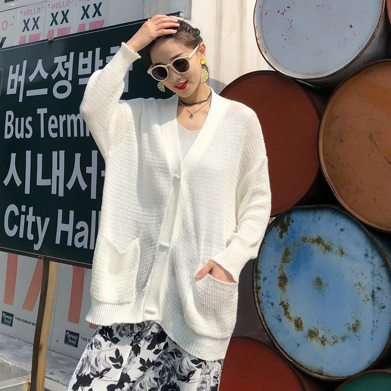 Lazy Wind Spring Summer Knitted Cardigan Women 2019 Korean Casual Pockets Batwing Sleeve Sun-Proof Long Cardigan Feminino Thin