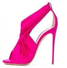 Fashion Rose Blue Stretch Fabric Women Sandals Cut-out Peep Toe Cross Strap Gladiator Hollow Wedding Shoes Bride