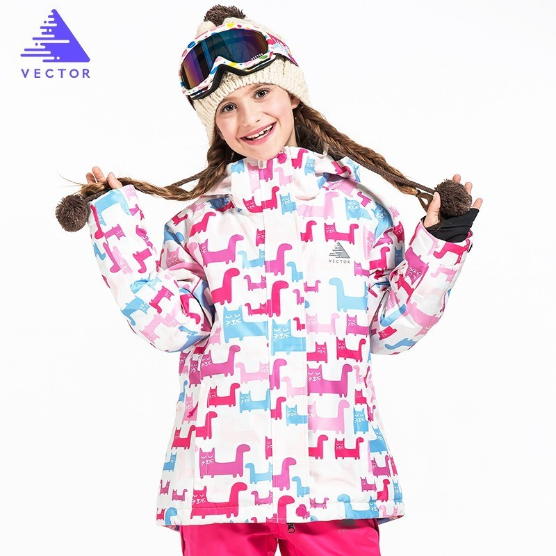 VECTOR Brand Girls Ski Jacket Warm Winter Skiing Snowboard Jackets Children Kids Windproof Waterproof Outdoor Coats HXF70014 vector warm winter ski jacket girls windproof waterproof children skiing snowboard jackets outdoor child snow coats kids